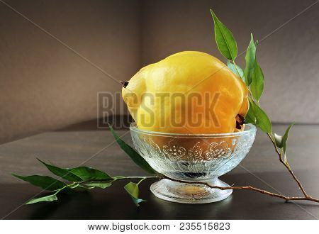 Still Life With Ripe Yellow Quince In Vintage Glass Vase And Green Branch Against A Low Key Backgrou
