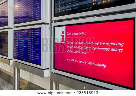 Frankfurt, Germany - April 10 2018 : Flight Information Board Showing Flights Delayed Or Cancelled D