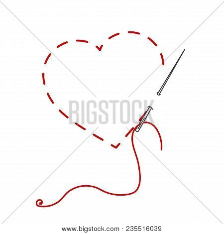 A Vector Illustration Of Stitched Heart, Needle With Thread. Embroidery Stylization With Stitches. B
