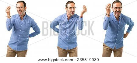 Middle age handsome man angry gesturing typical italian gesture with hand, looking to camera over white background