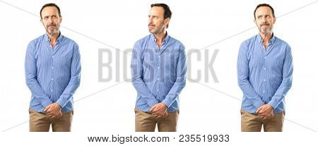 Middle age handsome man doubt expression, confuse and wonder concept, uncertain future over white background