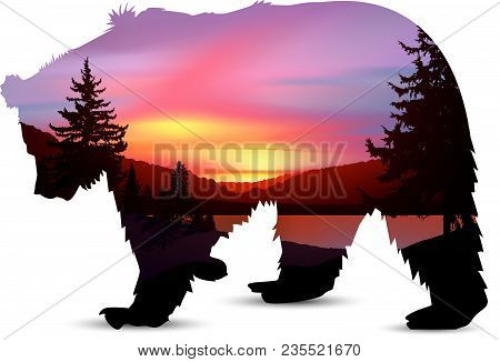 Silhouette Of Brown  Bear With Northern Lights In Wild Terrain With Lake (river) And Pine Forest.
