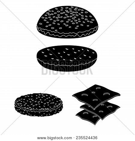 Burger And Ingredients Black Icons In Set Collection For Design. Burger Cooking Vector Symbol Stock