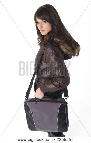 Girl With Laptop Bag