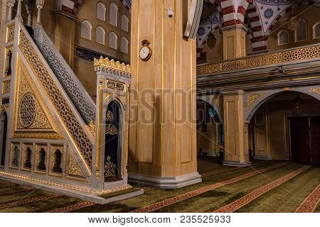 Grozny, Russia - July 9, 2017: Beautiful Nterior Of Akhmad Kadyrov Mosque In Grozny, Chechnya, Russi