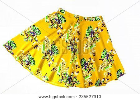 Bright Colored Fashionable Summer Floral Skirt For Women / Girl, Isolated On White / Stylish Summer