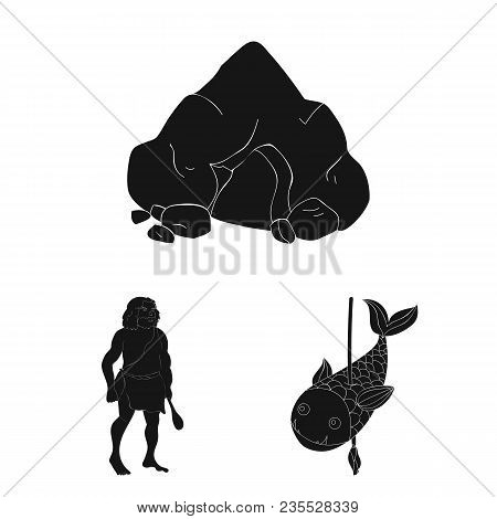 Life In The Stone Age Black Icons In Set Collection For Design. Ancient People Vector Symbol Stock