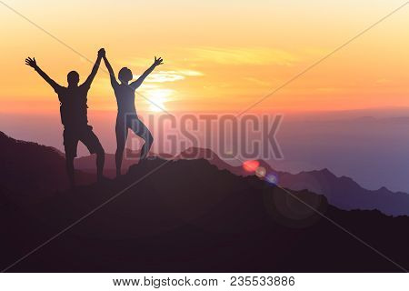 Successful Couple Achievement Climbing Or Hiking, Business Concept With Man And Woman Celebrating Wi