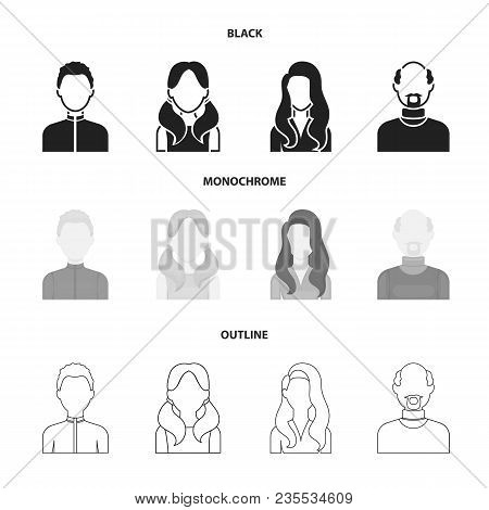 Boy Blond, Bald Man, Girl With Tails, Woman.avatar Set Collection Icons In Black, Monochrome, Outlin