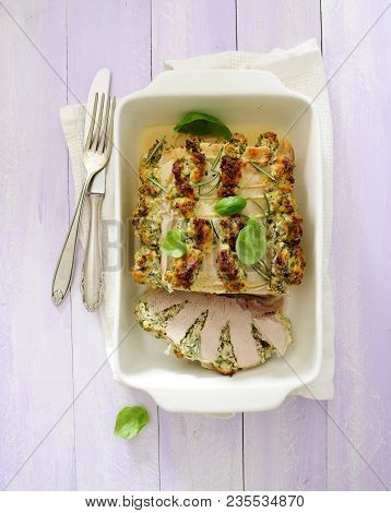 Roast Pork Loin Stuffed With Chees And Herbs.