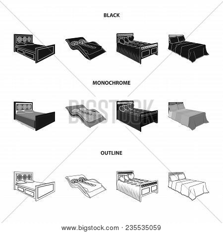 Different Beds Black, Monochrome, Outline Icons In Set Collection For Design. Furniture For Sleeping