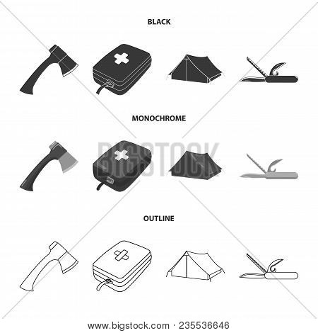 Ax, First-aid Kit, Tourist Tent, Folding Knife. Camping Set Collection Icons In Black, Monochrome, O