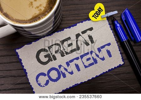 Conceptual Hand Writing Showing Great Content. Business Photo Showcasing Excellent Information Valua