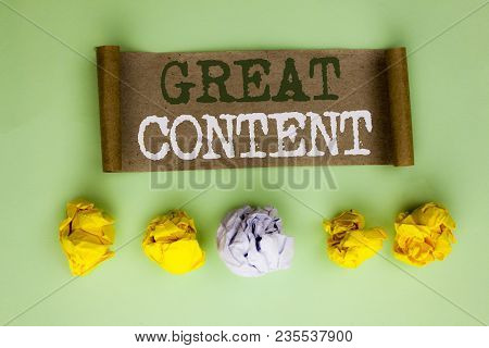 Handwriting Text Great Content. Concept Meaning Excellent Information Valuable Interesting Good Conv