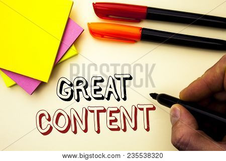 Handwriting Text Writing Great Content. Concept Meaning Excellent Information Valuable Interesting G