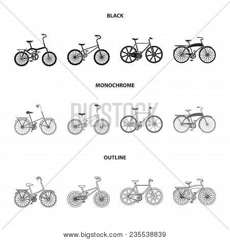 Children Bicycle And Other Kinds.different Bicycles Set Collection Icons In Black, Monochrome, Outli