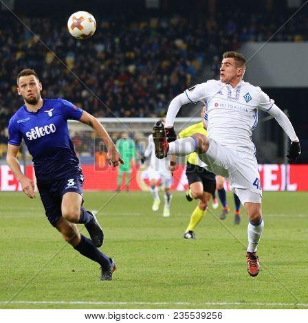 Kyiv, Ukraine - March 15, 2018: Artem Besedin Of Dynamo Kyiv (r) Fights For A Ball With Stefan De Vr