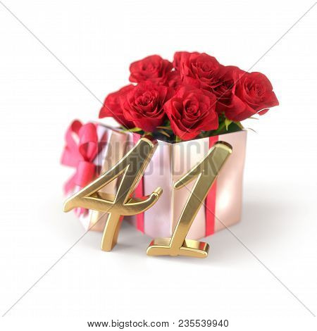 Birthday Concept With Red Roses In Gift Isolated On White Background. 3d Render - Forty-first Birthd