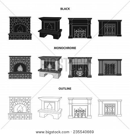 Fire, Warmth And Comfort.fireplace Set Collection Icons In Black, Monochrome, Outline Style Vector S