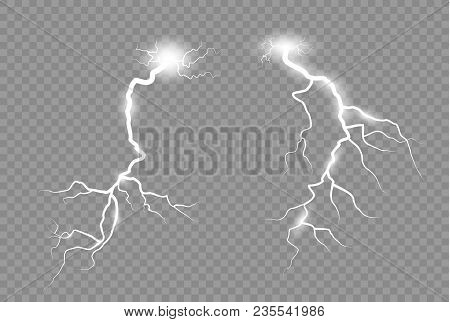 Lightning And Thunder-storm. Magic Glow And Sparkle Bright Lighting Effect.
