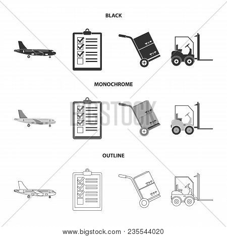 Cargo Plane, Cart For Transportation, Boxes, Forklift, Documents.logistic, Set Collection Icons In B
