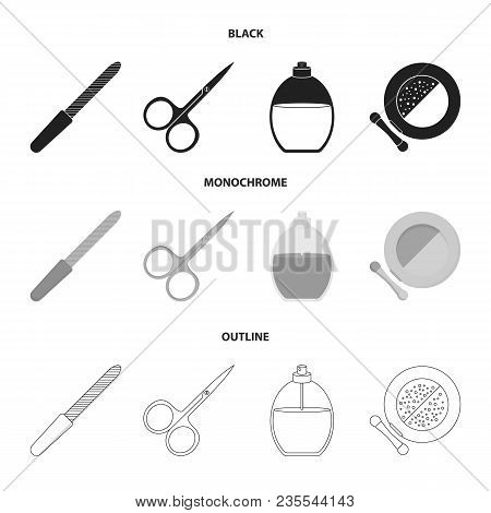 Nail File, Scissors For Nails, Perfume, Powder With A Brush.makeup Set Collection Icons In Black, Mo