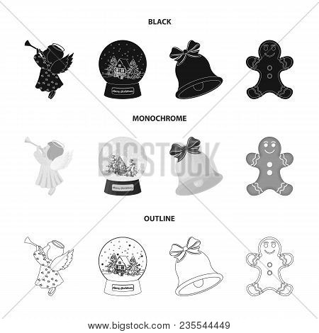 Angel, Glass Bowl, Gingerbread And Bell Black, Monochrome, Outline Icons In Set Collection For Desig