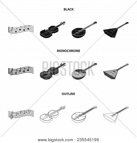 Musical Instrument Black, Monochrome, Outline Icons In Set Collection For Design. String And Wind In