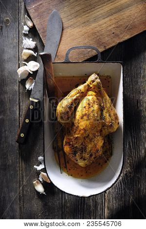 Garlic Butter Roast Chicken With Gravy And Tarragon.