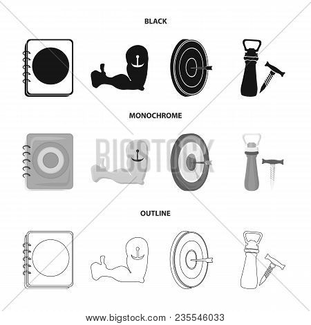 Menu, Armor With Tattoo, Darts, Corkscrew And Opener.pub Set Collection Icons In Black, Monochrome,