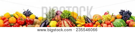 Wide collage of fresh fruits and vegetables for layout isolated on white background. Copy space