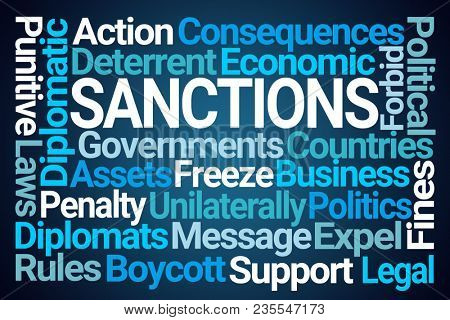 Sanctions Word Cloud on Blue Background poster