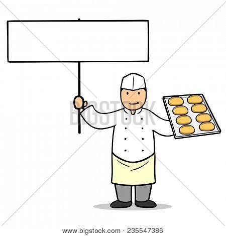 Cartoon baker with buns holds up a blank sign