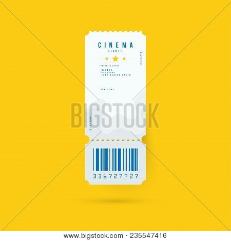 Cinema Ticket Realistic Isolated On White Background With Shadow. Flat Vector Illustration Eps 10.