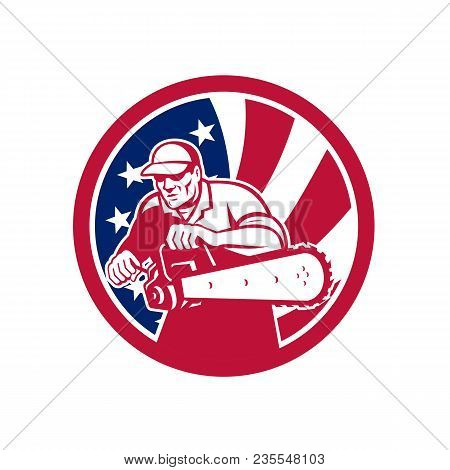 Icon Retro Style Illustration Of An American Lumberjack Arborist Or Tree Surgeon Holding A Chainsaw