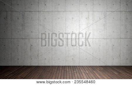 concrete walla and wood parquet floor 3d rendering image