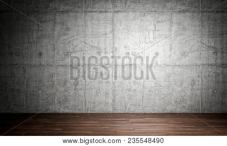 wood parquet floor and grunge concrete wall 3d rendering image