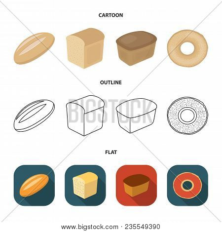 Loaf Cut, Bagel, Rectangular Dark, Half A Loaf.bread Set Collection Icons In Cartoon, Outline, Flat