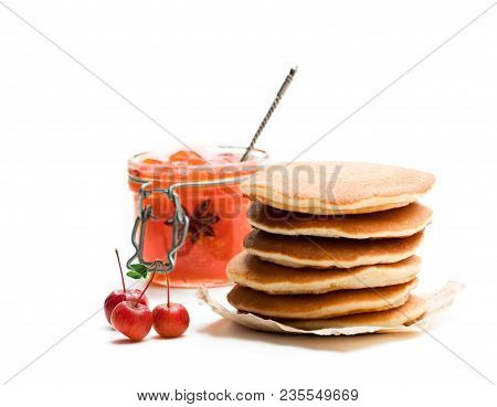 Stack  Of Scotch Pancakes With Wild Apples Jam Isolated On White
