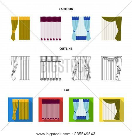 Curtains, Drapes, Garters, And Other  Icon In Cartoon, Outline, Flat Style. Textiles, Furniture Bow