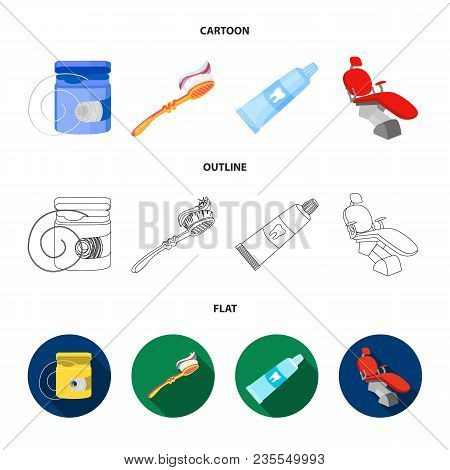 Dental Floss, Toothbrush, Toothpaste, Dental Chair. Dental Care Set Collection Icons In Cartoon, Out
