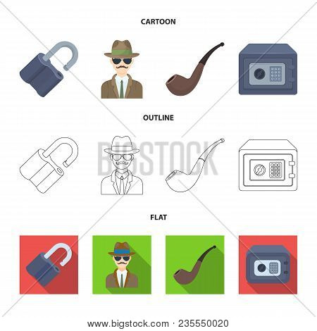 Lock Hacked, Safe, Smoking Pipe, Private Detective.detective Set Collection Icons In Cartoon, Outlin