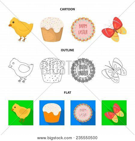 Easter Cake, Chicken, Butterfly And Greeting Sign.easter Set Collection Icons In Cartoon, Outline, F