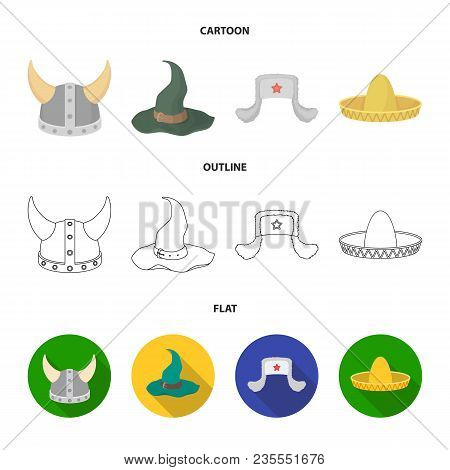 Sombrero, Hat With Ear-flaps, Helmet Of The Viking.hats Set Collection Icons In Cartoon, Outline, Fl