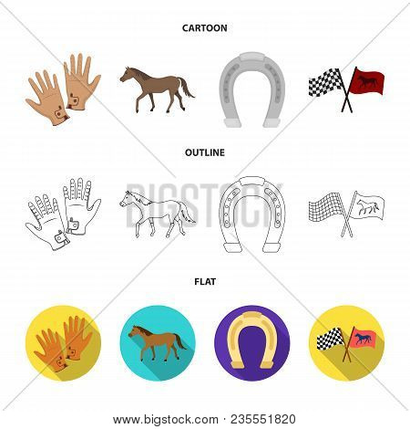 Race, Track, Horse, Animal .hippodrome And Horse Set Collection Icons In Cartoon, Outline, Flat Styl