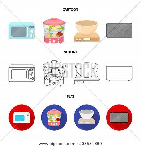 Steamer, Microwave Oven, Scales, Lcd Tv.household Set Collection Icons In Cartoon, Outline, Flat Sty