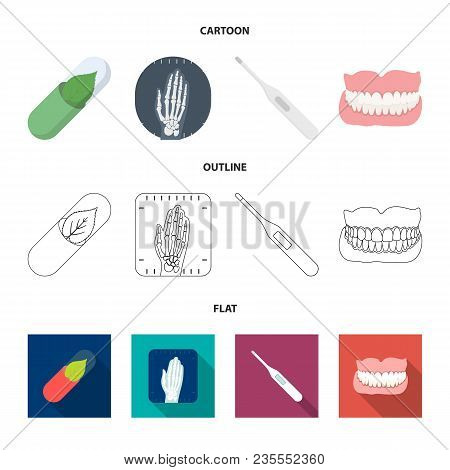 Eco Tablet, Electronic Thermometer, Hand X-ray, Denture.medicine Set Collection Icons In Cartoon, Ou