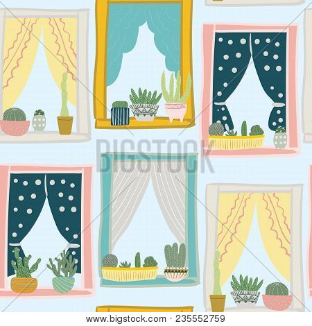 Cactus On The Window Pattern.cacti In Pots. Seamless Pattern With Succulents. Colorful Background Wi