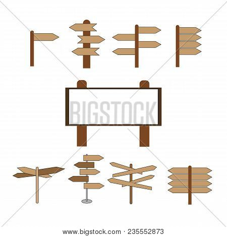 Direction Pointer Symbol, Logo Illustration.vector Set Of Cartoon Direction Post