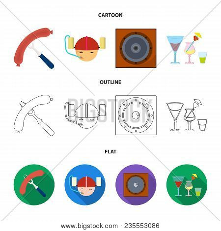 Fried Sausage, Beer Helmet, Cocktails, Speaker.pub Set Collection Icons In Cartoon, Outline, Flat St